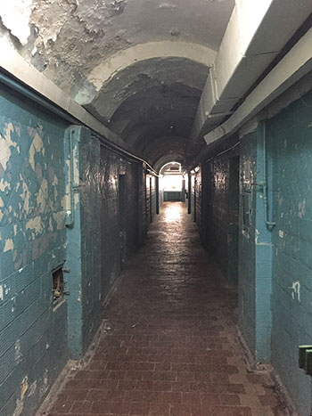 A hallway where inmates of the tsarist-era Lukyanivska Prison, built in 1863, are held in between their criminal court cases.