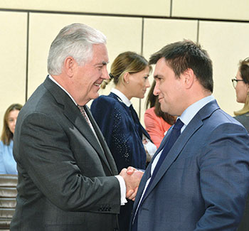 U.S. Secretary of State Rex W. Tillerson with Ukrainian Foreign Affairs Minister Pavlo Klimkin during the NATO-Ukraine Commission meeting on March 31 in Brussels.