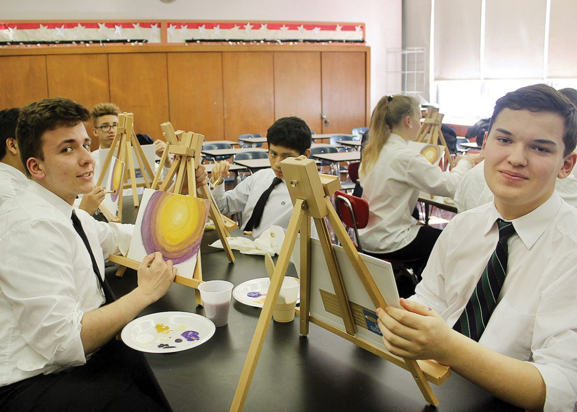 Students enjoy art class.