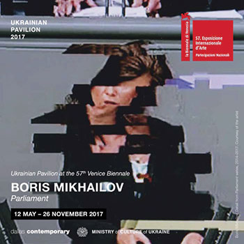 "A poster for the Ukrainian Pavilion at the 57th Venice Biennale features a work from the series ""Parliament"" (2014-2016) by Boris Mikhailov."
