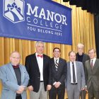 "At Manor College for the dialogue on ""Ukraine: Education as the Battlefront of Democracy"" (from left) are: Dr. Albert Kipa, Dr. Serhiy Kvit, Manor College President Jonathan Peri, Dr. Andriy V. Zagorodnyuk, Dr. Leo Rudnytzky and Alex Kuzma."