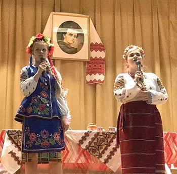 Eighth grade students (from left) Solomiya Koziy and Katiya Synkovych.