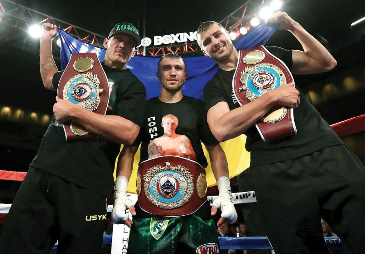 At the MGM National Harbor in Oxon Hill, Md., on April 8 are the three professional Ukrainian boxers who fought that evening (from left): Oleksandr Usyk, Vasyl Lomachenko and Oleksandr Gvozdyk.