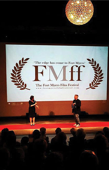 "Olha Onyshko at the Fort Myers Films Festival, where her film ""Women of Maidan"" won the award for Best Documentary."