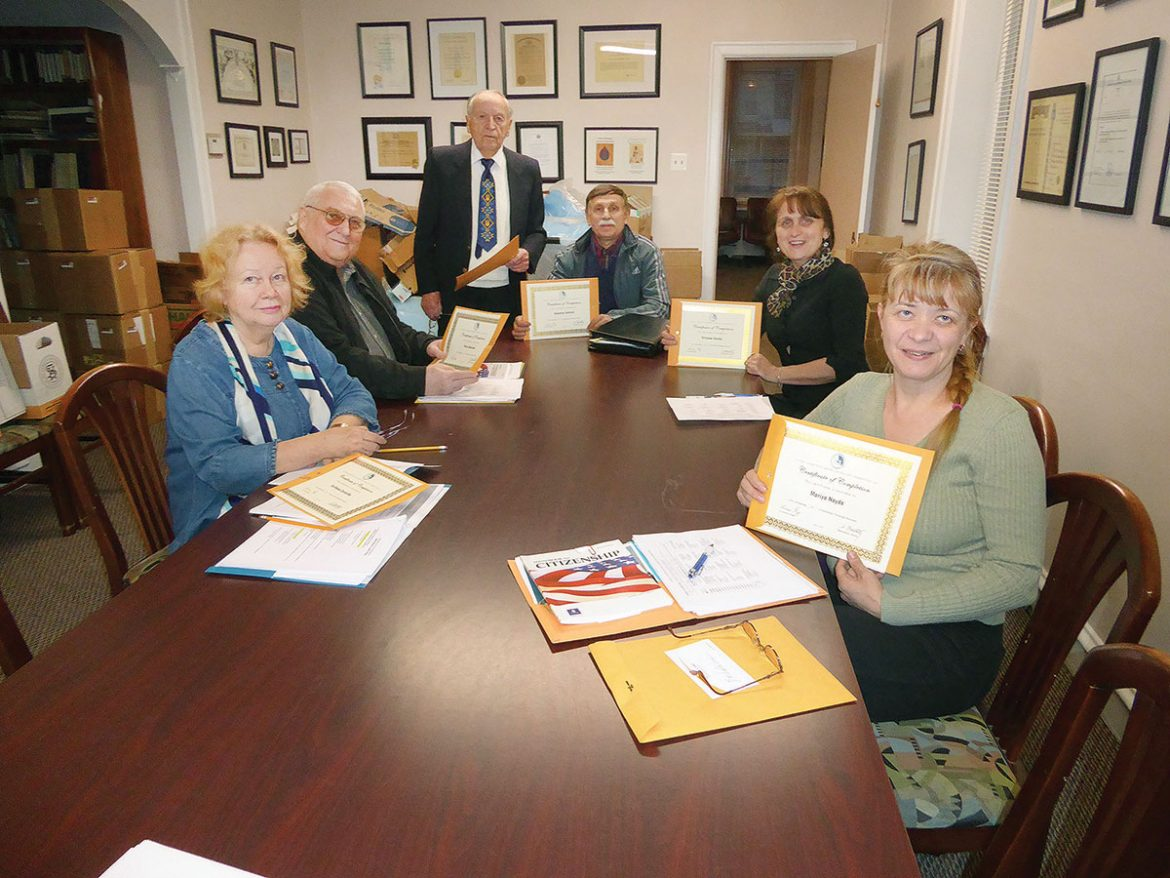 Participants of the citizenship course offered by the United Ukrainian American Relief Committee (from left) are: Svitlana Zarayska, Petro Skalozub, Metodij Boretsky (standing), Valentyn Sulzhyk, Tatiana Shafar, Maria Hayda.
