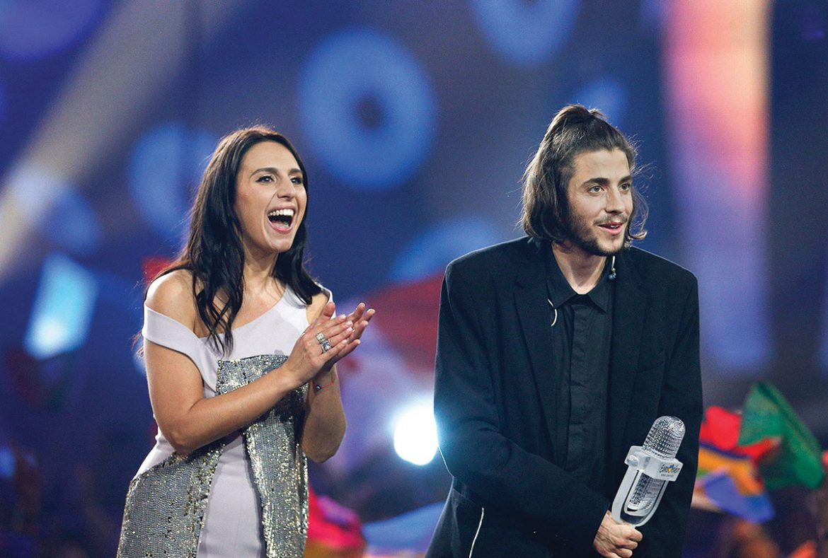 The winner of Eurovision 2017, Salvador Sobral of Portugal, with last year's winner, Crimean Tatar singer Jamala from Ukraine.