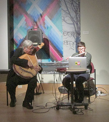 "Julian Kytasty and Solomiya Moroz perform during ""Out of the Studio: Process and Practice"" at The Ukrainian Museum on May 12."