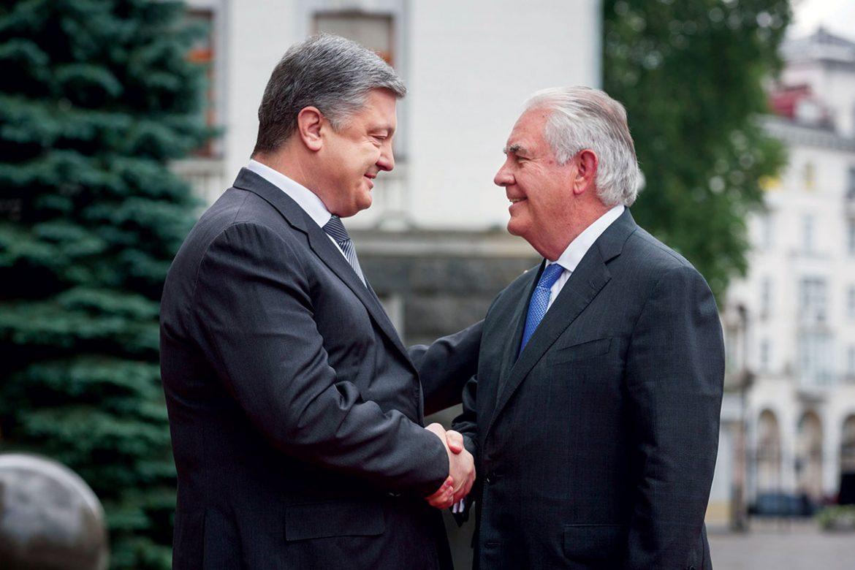 President Petro Poroshenko welcomes U.S. Secretary of State Rex Tillerson to Kyiv.