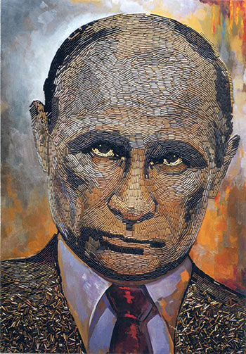 """""""The Face of War,"""" a portrait of Vladimir Putin created by Daria Marchenko using bullet shells."""