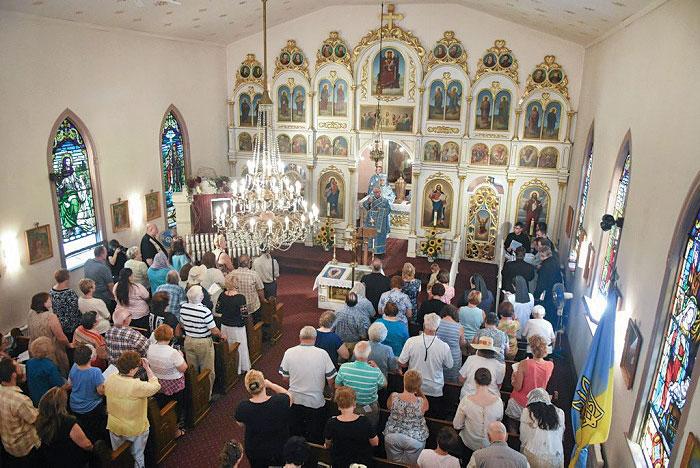 The congregation at the divine liturgy celebrated by Metropolitan Stefan Soroka during the 2016 pilgrimage.