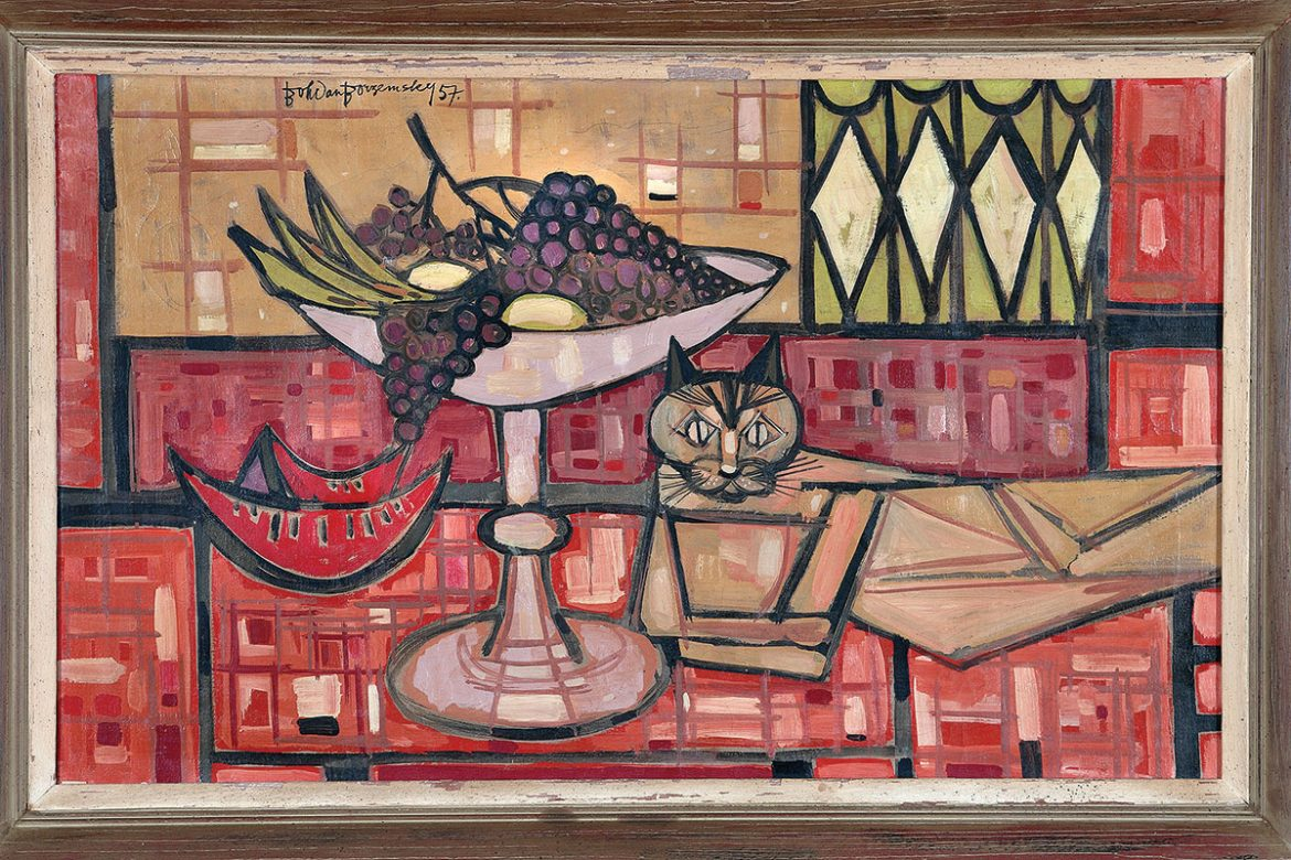 """""""Cat on a Table"""" (1957, oil on canvas, 30 x 36 inches, collection of Chryzanta Hentisz)."""