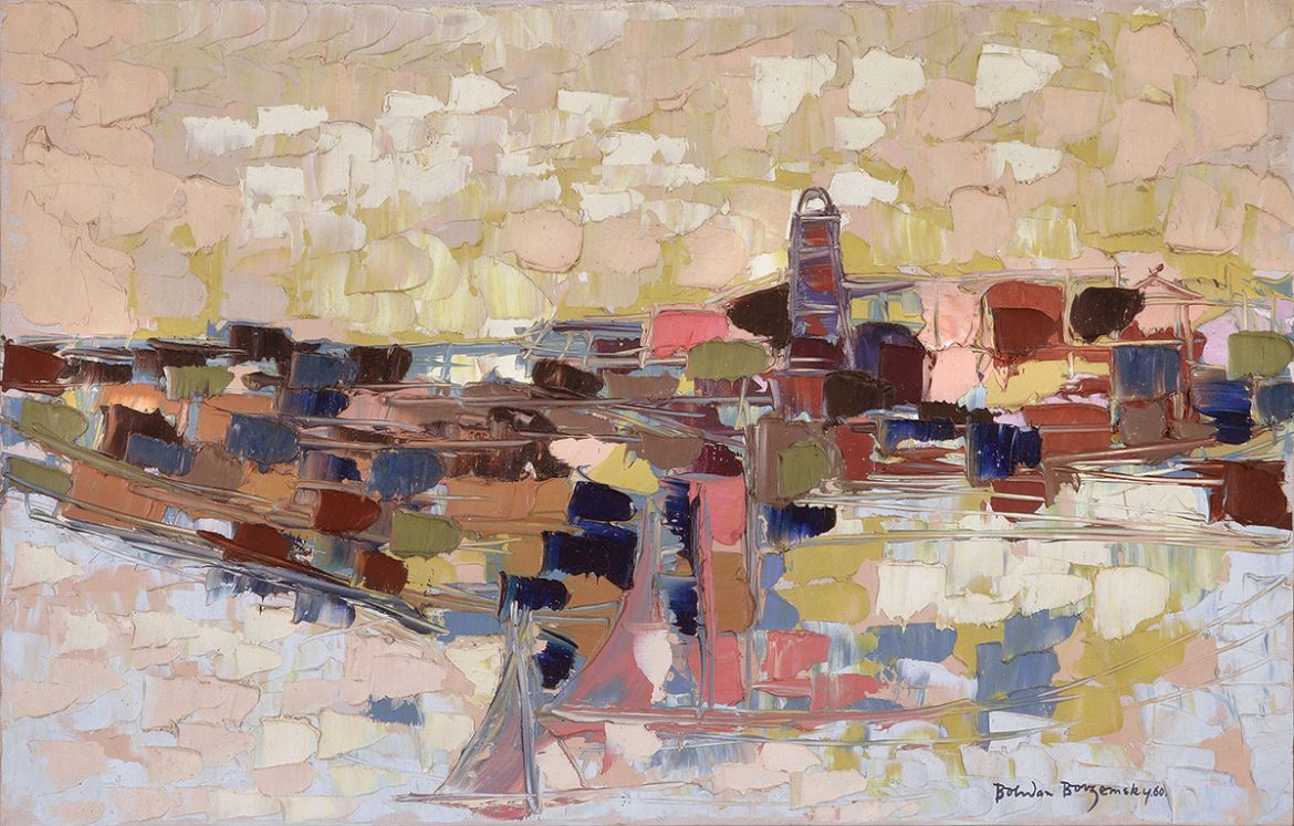 Untitled seascape (1960, oil on canvas, 18 x 28 inches, collection of the Ukrainian Museum and Library of Stamford).