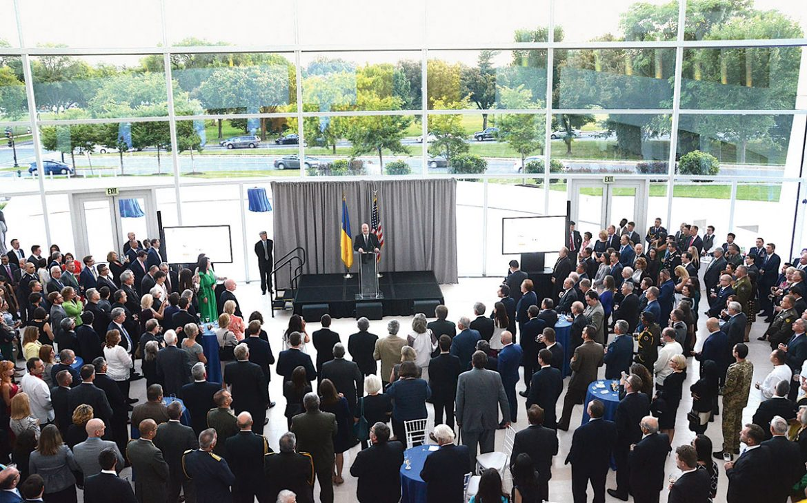 Ukrainian Ambassador Valeriy Chaly welcomes a crowd of some 500 guests to this year's reception honoring the 26th anniversary of Ukraine's independence and the upcoming 26th anniversary of Ukraine's diplomatic relations with the United States at the U.S. Institute of Peace in Washington.