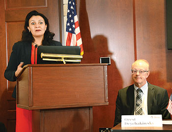 """Ukrainian Vice Prime Minister Ivanna Klympush-Tsintsadze describes the need for and the positive effects of U.S. assistance to Ukraine at this strategic time during a discussion of the """"Priority Recommendations for U.S. Assistance Report"""" at the U.S. Capitol Visitor Center. Sitting next to her is Orest Deychakiwsky, former senior staff advisor at the U.S. Helsinki Commission."""