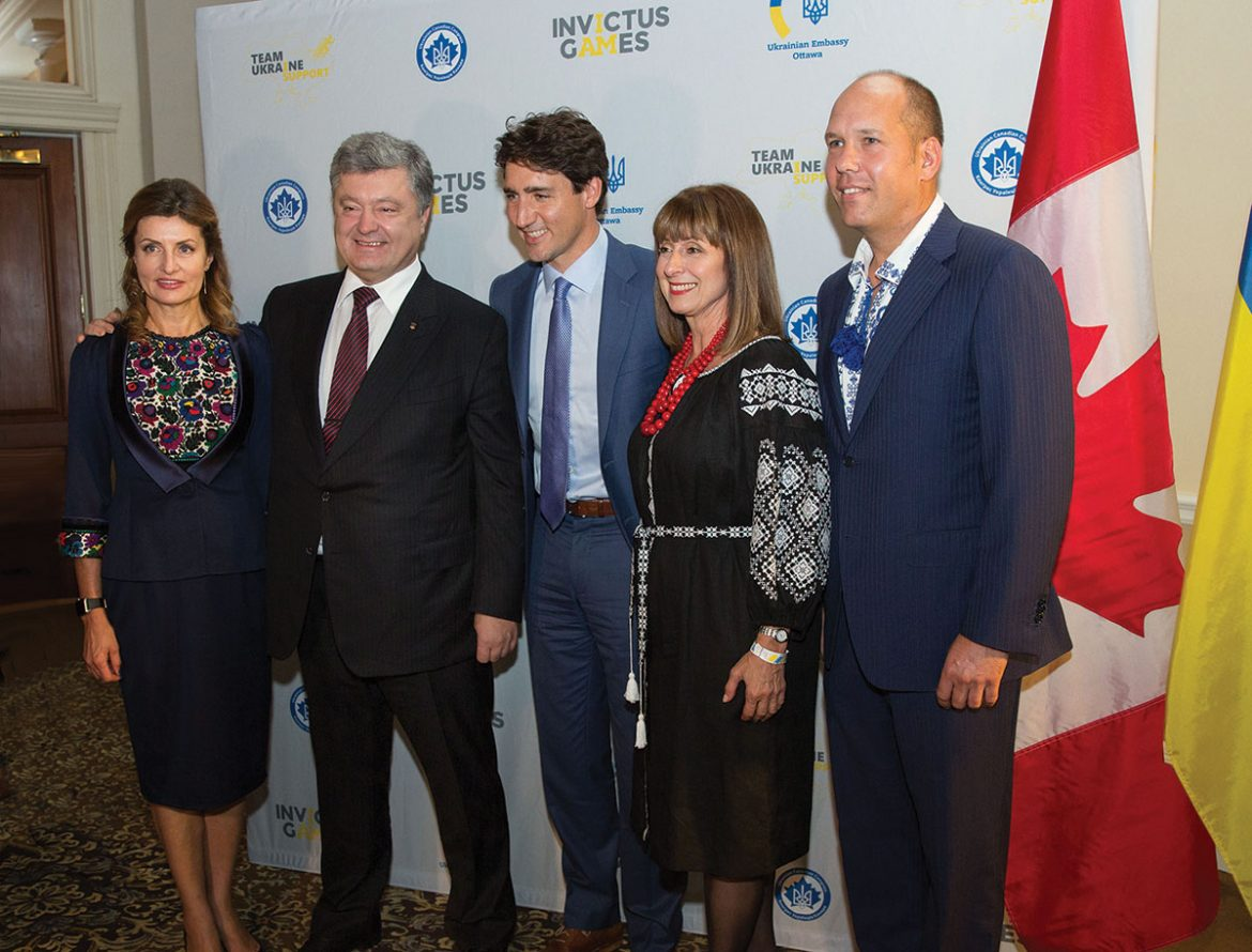 At the Invictus Games gala welcoming Team Ukraine on September 23 (from left) are: Maryna Poroshenko, President Petro Poroshenko, Prime Minister Justin Trudeau, Ukrainian Canadian Congress Vice-President Alexandra Chyczij and UCC National President Paul Grod.