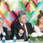At The Ukrainian Museum for a meeting with Ukrainian community leaders and Crimean Tatar representatives (from left) are: Mustafa Dzhemilev, commissioner of the president of Ukraine for the affairs of Crimean Tatars, President Petro Poroshenko and First Lady Maryna Poroshenko.