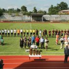 Officials open the third-place match between the U.S. youth team of the Ukrainian American Youth Association and the team from Ivano-Frankivsk.