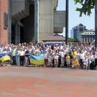 The crowd attending the Ukrainian Independence Day ceremonies in front of City Hall.