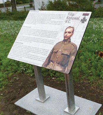The trilingual plaque honoring Cpl. Filip Konowal, recipient of the Victoria Cross.