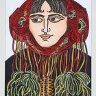 """""""Carpathian Maiden #2"""" (1995, hand-colored papercut, 17.5 x 13, inches, collection of the Ukrainian Museum and Library of Stamford)."""