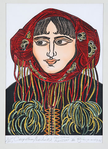 """Carpathian Maiden #2"" (1995, hand-colored papercut, 17.5 x 13, inches, collection of the Ukrainian Museum and Library of Stamford)."