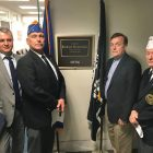 At Sen. Richard Blumenthal's office in Washington on April 18 (from left) are: Col. Sergiy Panchenko, Michael Hrycak, Myron Melnyk and Ihor Rudko.
