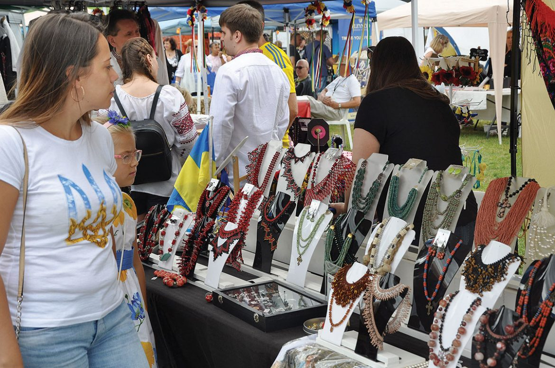 """At the festival's """"Yarmarok,"""" the vendor area."""