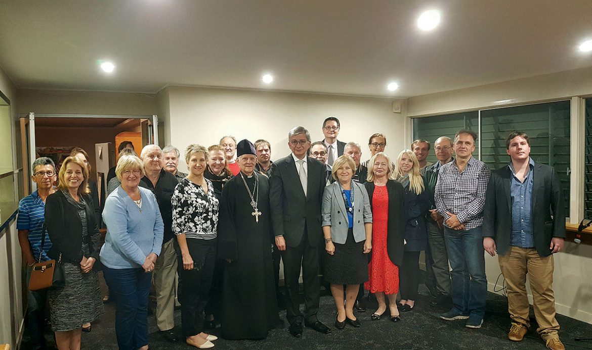 Father Mykola Serdiuk of St. Nicholas Ukrainian Autocephalous Orthodox Church, Ukrainian World Congress President Eugene Czolij and his wife, Anna Czolij with the Ukrainian community of Brisbane, Australia.