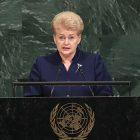 Lithuania's President Dalia Grybauskaite addresses the U.N. General Assembly on September 19.