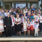 Ukrainian community members in front of City Hall in Bethlehem, Pa.