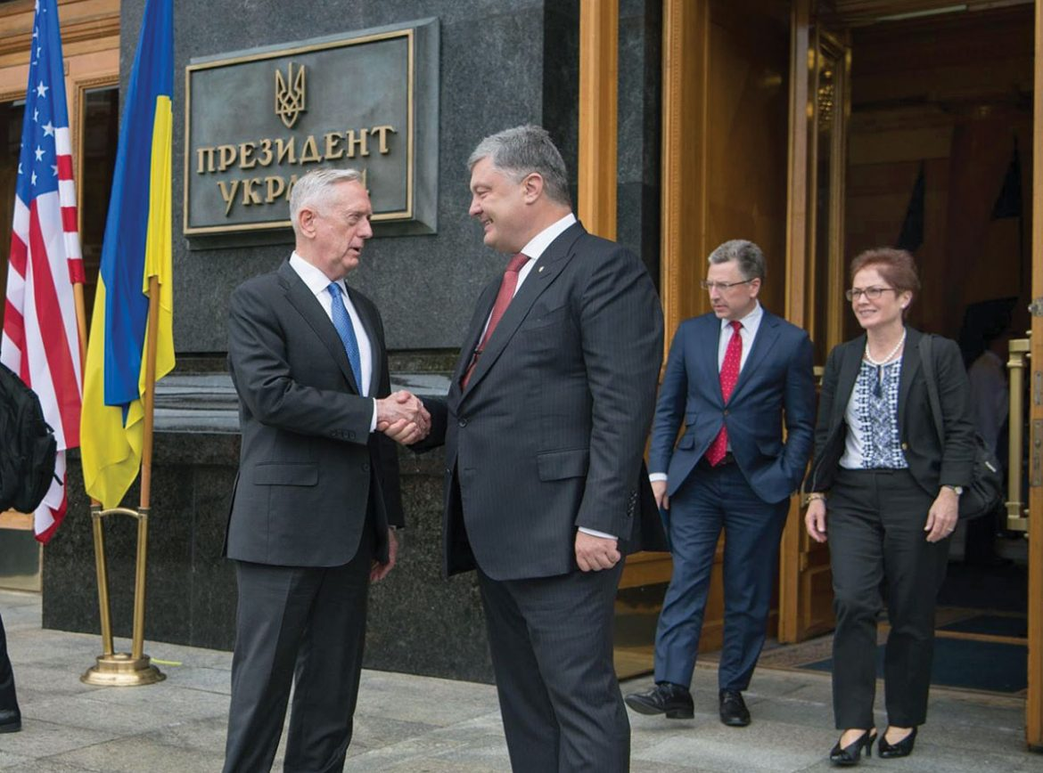 U.S. Secretary of Defense Jim Mattis with Ukraine's President Petro Poroshenko. In the background are Kurt Volker, special representative for Ukraine negotiations, and Marie Yovanovitch, U.S. ambassador to Ukraine.