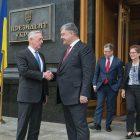 U.S. Secretary of Defense Jim Mattis with Ukraine's President Petro Poroshenko. In the background are Kurt Volker, special representative for Ukraine negotiations, and Marie Yovanovitch, U.S. ambassador to Ukraine.