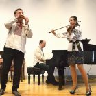 Flutist Andrei Pidkivka joins with his Gerdan trio colleagues, pianist Daniel May and violinist Solomia Gorokhivska, in performing a Ukrainian folklore-inspired program at The Lyceum in Alexandria, Va.