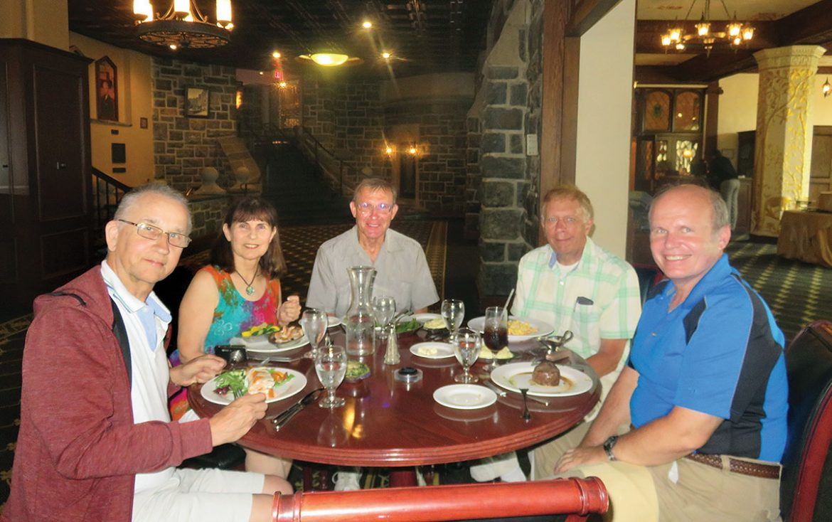 Dining at West Point (from left): Yuri Mykolayevych, Roma Nightengale, Bill Pidhirny, Richard Strayves and Andrew Hrechak.