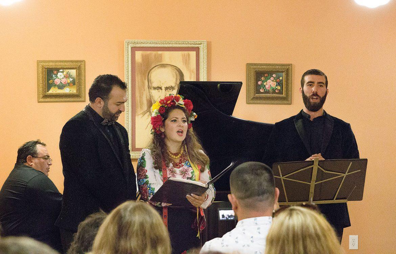 At the concert at Christ the King Parish Center (from left) are: Levon Hovsepian, (piano), David Gvinianidze (tenor), Olga Lisovska (soprano) and Vartan Gabrielian (bass-baritone).