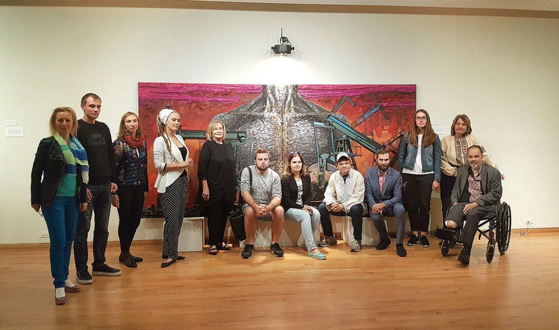 At the Ukrainian Institute of Modern Art with Rep. Mike Quigley (from left) are: Svitlana Mefford (translator), Artem Skrypnyk, Oksana Poluliakh, Daria Marchenko (artist), Motria Melnyk (president, Ukrainian Institute of Modern Art), Maksym Skubenko, Viktoria Yermolaieva, Congressman Quigley, Daniel Green, Maria Zhdanova, Vera Eliashevsky and the Rev. Myron Panchuk.