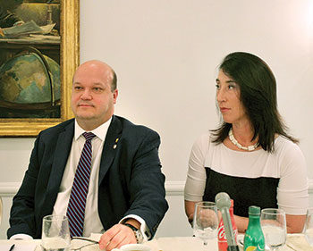 Ukraine's Ambassador to the U.S. Valeriy Chaly with his wife, Liudmyla Mazuka, during the conference luncheon.