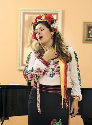 Olga Lisovska performs at Christ the King Parish Center.