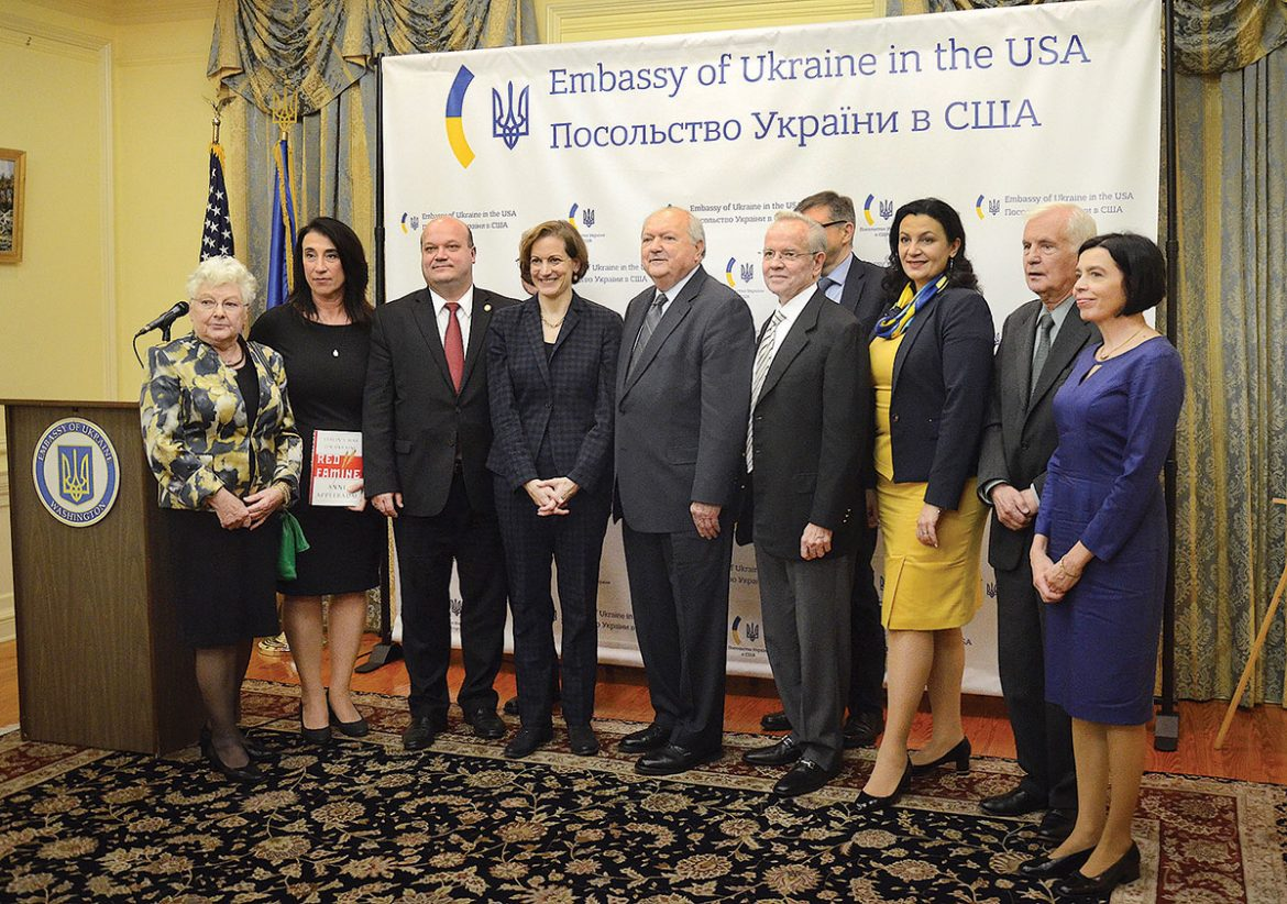 At the conclusion of the Antonovych Award ceremony at the Ukrainian Embassy in Washington, award laureate Anne Applebaum is joined by other prominent participants of the event for a group photograph. From left are: Dr. Martha Bohachevsky Chomiak, Liudmyla Mazuka and her husband Ukraine's Ambassador Valeriy Chaly, Ms. Applebaum, Roman Sloniewsky, Andrew Lewycky (with Prof. Serhiy Plokhy behind him), Ukrainian Vice Premier Ivanna Klympush-Tsintsadze, Dr. Roman Szporluk and Dr. Ola Hnatiuk.