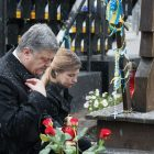 President Petro Poroshenko and First Lady Maryna Poroshenko visit a memorial to the Heavenly Hundred in downtown Kyiv on November 21 on the fourth anniversary of the Euro-Maidan Revolution.