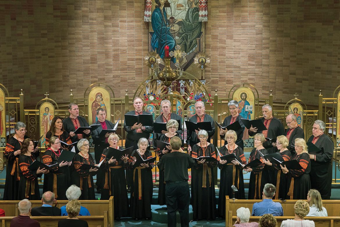 The Yevshan Ukrainian Vocal Ensemble of Hartford performs at a benefit concert for Boston Friends of UCU at Christ the King Ukrainian Catholic Church.