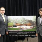 Ukrainian Canadian congress CEO Ihor Michalchyshyn and UCC Executive Committee member Cassian Soltykevych at the unvieling ceremony of the Memorial for the Victims of Communism.