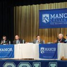 At a panel discussion about Ukrainian-American relations at Manor College (from left) are: U.S. Rep. Brian Fitzpatrick, co-chair of the Congressional Ukraine Caucus; the first U.S. ambassador to Ukraine, Roman Popadiuk; Manor College President Dr. Jonathan Peri (moderator); U.S. Justice Department prosecutor and advisor to the Prosecutor's Office in Ukraine, Bohdan Vitvitsky; and U.S. Rep. Brendan Boyle, Congressional Ukraine Caucus.