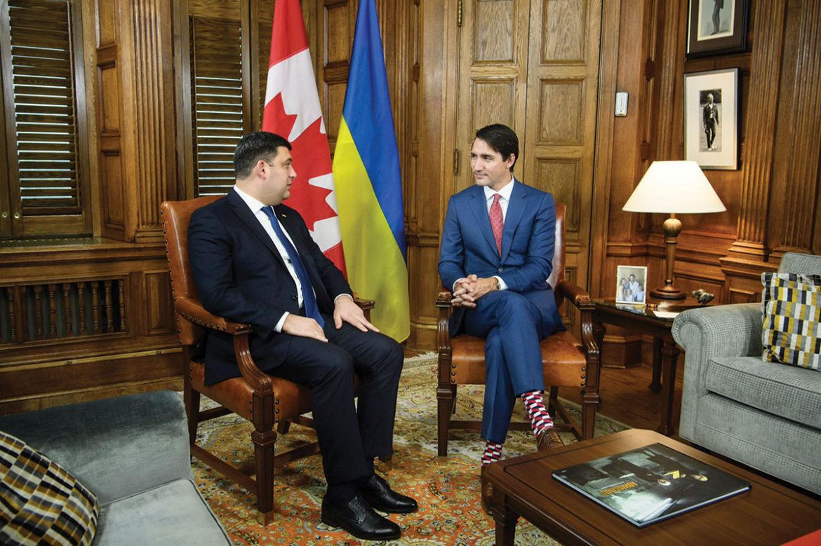 During their meeting in Ottawa, Prime Ministers Volodymyr Groysman of Ukraine and Justin Trudeau of Canada.