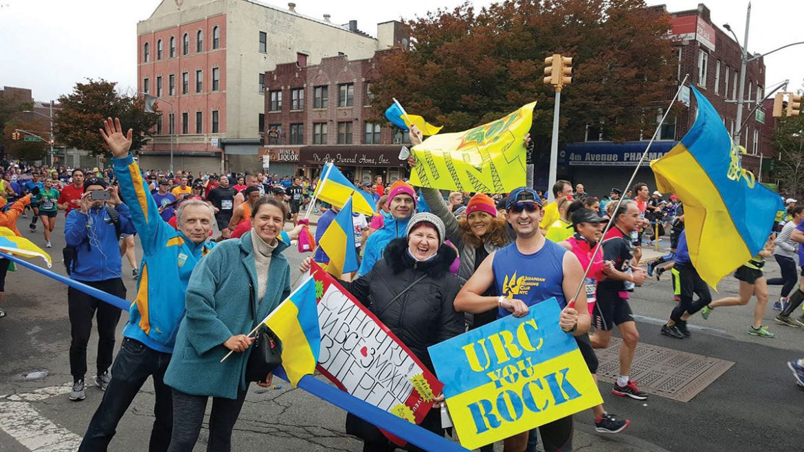 URC cheering support groups on Fourth Avenue and 50th Street in Brooklyn.