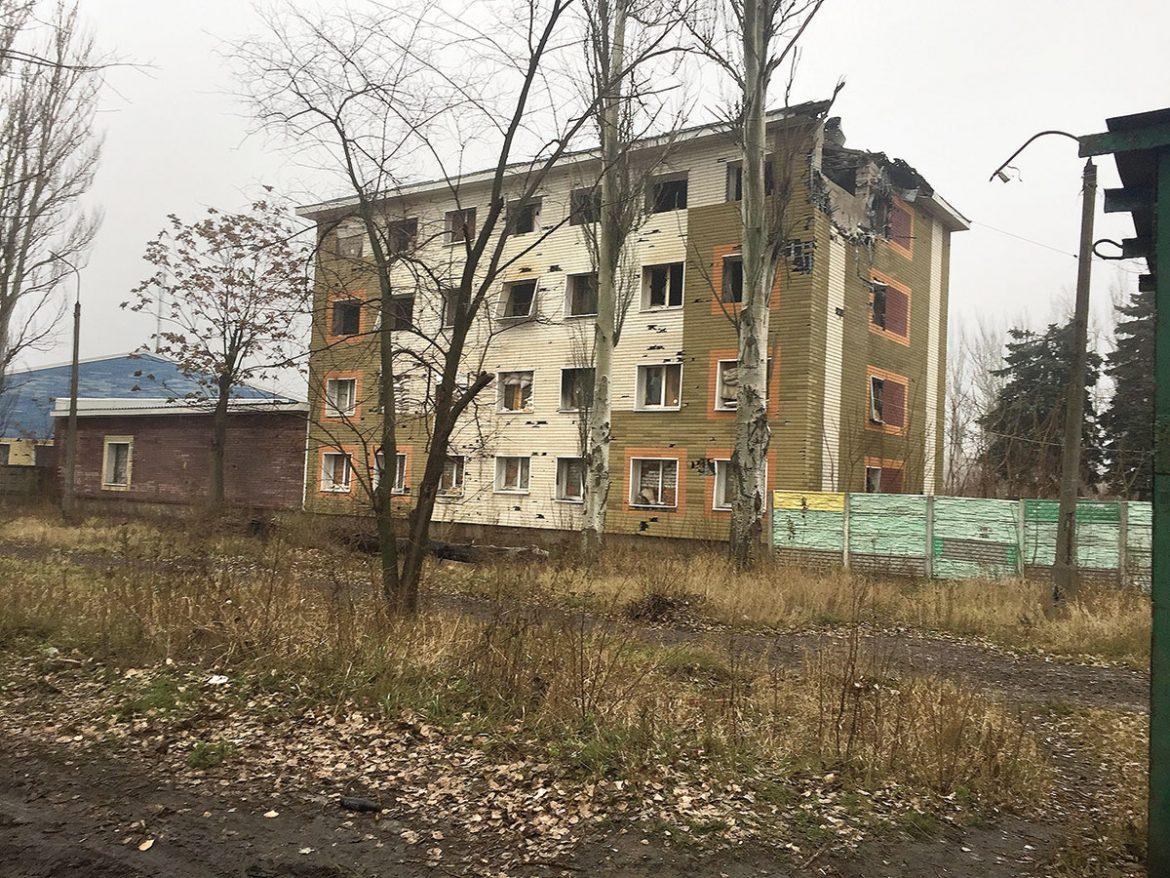 An abandoned residential, four-story building in Avdiyivka that was rendered  uninhabitable by Russian artillery shelling.