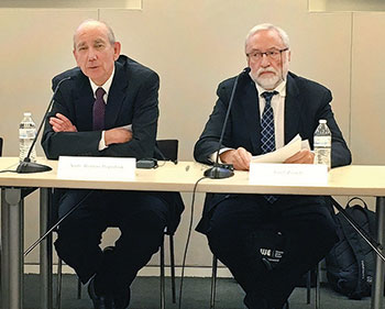The first U.S. ambassador to Ukraine, Roman Popadiuk (left), introduces Josef Zissels, head of the Association of Jewish Organizations and Communities of Ukraine.