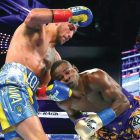 WBO super featherweight champion Vasyl Lomachenko lands a left against Guillermo Rigondeaux of Cuba on December 9 at Madison Square Garden Theater in New York.