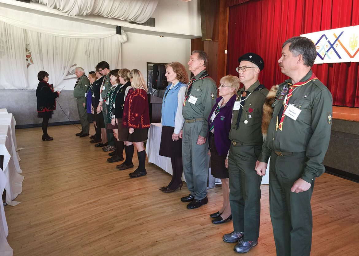 The new leadership of Plast Ukrainian Scouting Organization in the U.S.A. is sworn into office.