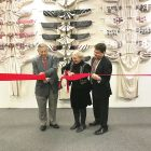 During the ribbon-cutting (from left) are: Dr. Alexander Serafyn, Hamtramck Mayor Karen Majewski and George Stasiw.